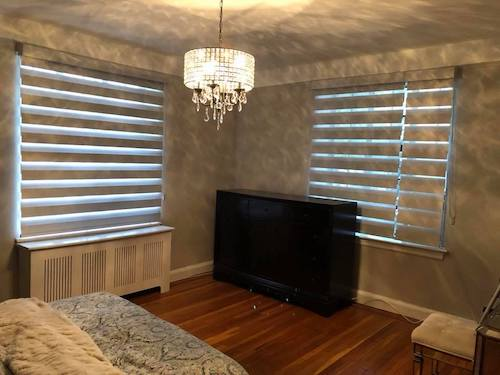 bedroom banded shades