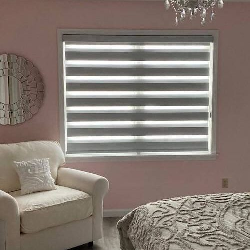 gray banded blinds